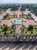 Visión sobre Vientián de Patuxai Imagen de archivo