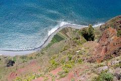 Visión superior desde Gabo Giraol en la isla de Madeira, Portugal Fotografía de archivo libre de regalías