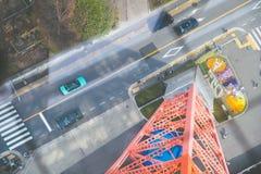 Visión superior desde las señales de la torre de Tokio en Japón | Turismo el 30 de marzo de 2017 Imagenes de archivo