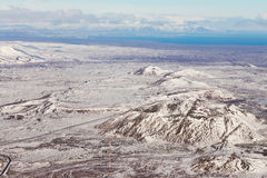 Visión superior, tierra de Islandia nevada Imágenes de archivo libres de regalías