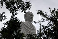 Visión a través de las hojas en una estatua grande de un Buda blanco Imagen de archivo