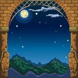 Visión a través del arco del castillo de piedra en el paisaje de la noche por la luz de la Luna Llena Bosquejo para la tarjeta o  ilustración del vector