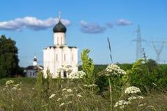 Visión a través del prado de Bogolubovo hacia la iglesia de la intercesión de la Virgen Santa en el río de Nerl Imagen de archivo