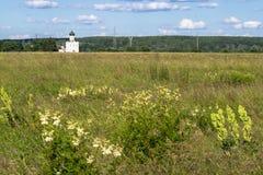 Visión a través del prado de Bogolubovo hacia la iglesia de la intercesión de la Virgen Santa en el río de Nerl Foto de archivo