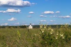 Visión a través del prado de Bogolubovo hacia la iglesia de la intercesión de la Virgen Santa en el río de Nerl Fotografía de archivo libre de regalías