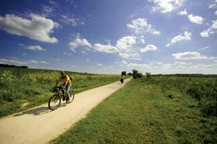 Visiónes desde el ferrocarril averiado de la pista para la senda para peatones y bicicletas del Greenway Fotos de archivo