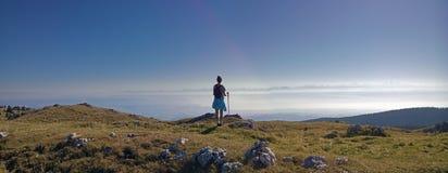Visiónes desde el tendre del mont en el Jura suizo hacia las montañas francesas Fotos de archivo libres de regalías