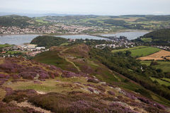 Visiónes desde la montaña de Conwy imagen de archivo