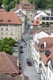 Visiónes desde la torre de la catedral, Lausanne, lago Ginebra, mayo de 2006 Imagenes de archivo