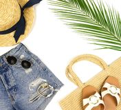 Visi?n superior, ropa puesta plana del viaje del verano de las mujeres de la moda y collage accesorio fotos de archivo libres de regalías