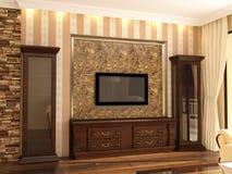 visialization 3D дизайна интерьера живущей комнаты Стоковые Изображения