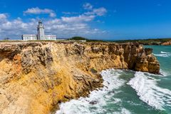 Visibilité directe Morrillos, Cabo Rojo, attraction locale de Faro de Puerto Rico photo stock