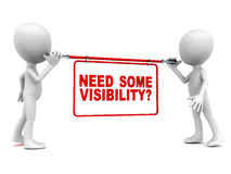 Visibility advertisement. Advertisement visibility concept, little 3d men holding up banner reading need some visibility? white background Royalty Free Stock Photography