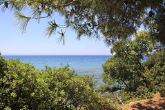 Visible horizon of the Aegean Sea. Royalty Free Stock Images