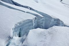 Visible layers of ice and crevasses. Royalty Free Stock Images