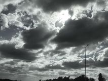 Dark clouds in the sky royalty free stock photography