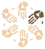 Visible minority. Group of hands working together showing visible minority - vector Royalty Free Stock Image