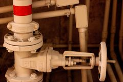 The visible piping. Visible piping and plumbing royalty free stock images