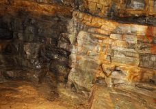 Visible rock layers with ancient sediments in the mine of minera Stock Photos