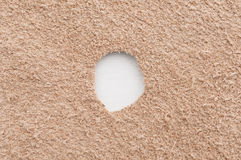 Visible white cut out in the middle of suede leather Royalty Free Stock Image