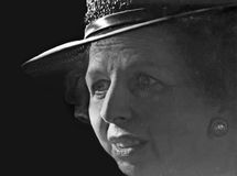 Margaret Thatcher. A visibly moved Margaret Thatcher emerges from Yad Vashem, the Holocaust Memorial in Jerusalem during a state visit to the Jewish state; May stock image