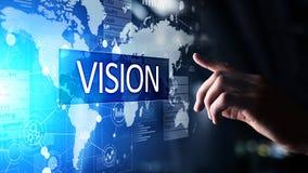 Visie, Bedrijfsinformatie en strategieconcept op het virtuele scherm stock afbeeldingen