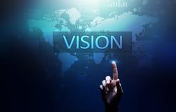 Visie, Bedrijfsinformatie en strategieconcept op het virtuele scherm stock afbeelding
