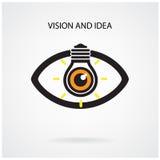 Visie en het creatieve concept van het gloeilampenidee, oogsymbool Royalty-vrije Stock Fotografie