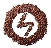 Visieren Sie 'Blitz' im Kreis von den Kaffeebohnen an Lizenzfreie Stockbilder