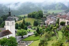 Visión desde el castillo de Gruyeres Fotos de archivo libres de regalías