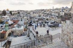 Visión desde la puerta de Damasco a la ciudad vieja de Jerusalén Israel Foto de archivo