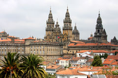 Visión sobre Santiago de Compostela y su catedral Fotografía de archivo libre de regalías