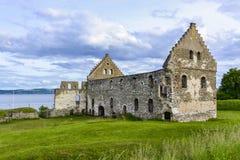 Visingsborg城堡废墟在Visingso,一个海岛在瑞典。 免版税图库摄影