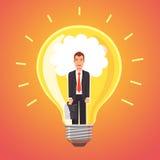 Visionär affärsman som glöder med idéer Arkivbild