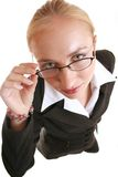 Vision. Looking up over spectacles Royalty Free Stock Photos