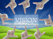 Vision. Idea of vision by 8 fingers touch vision button on nature background Royalty Free Stock Photography