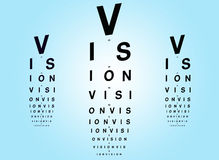 Vision. Word vision is spelled out on an eye exam test sheet Royalty Free Stock Photography