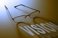 Vision. Eyeglasses with vision graphic Royalty Free Stock Photography