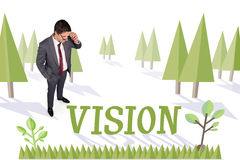 Vision against forest with earth tree Royalty Free Stock Images