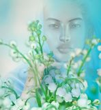 Vision or apparition of spiritual woman in a field. Of flowers. Serenity and peace accompany this image enhanced by soft lighting and a gradient background Royalty Free Stock Image
