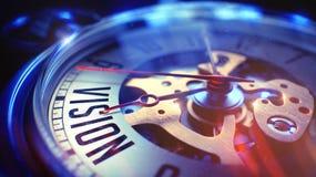 Vision - Aufschrift auf Weinlese-Taschen-Uhr 3d übertragen Stockbild