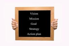 Vision - beskickning - mål - strategi - handlingsplan Arkivfoto