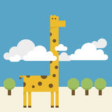 Vision Beyond or Nothing when you got success. Giraffe lock neck over cloud have a vision Royalty Free Stock Images