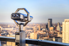 Vision. Binoculars overlooking city skyline. Concept for vision  the future, to what is important Stock Photo