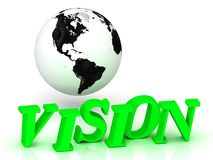 Vision - bright green letters and earth Stock Images