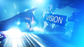 Vision, Business intelligence and strategy concept on virtual screen. royalty free stock image