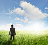 Vision business man in fields and bule sky Stock Photo