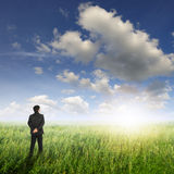 Vision business man in fields and sun sky Royalty Free Stock Images