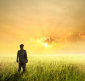 Vision business man in fields and sunset. On hope day Stock Photo