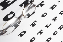 Vision Care. Concept - a pair of glasses and eye chart Stock Photography